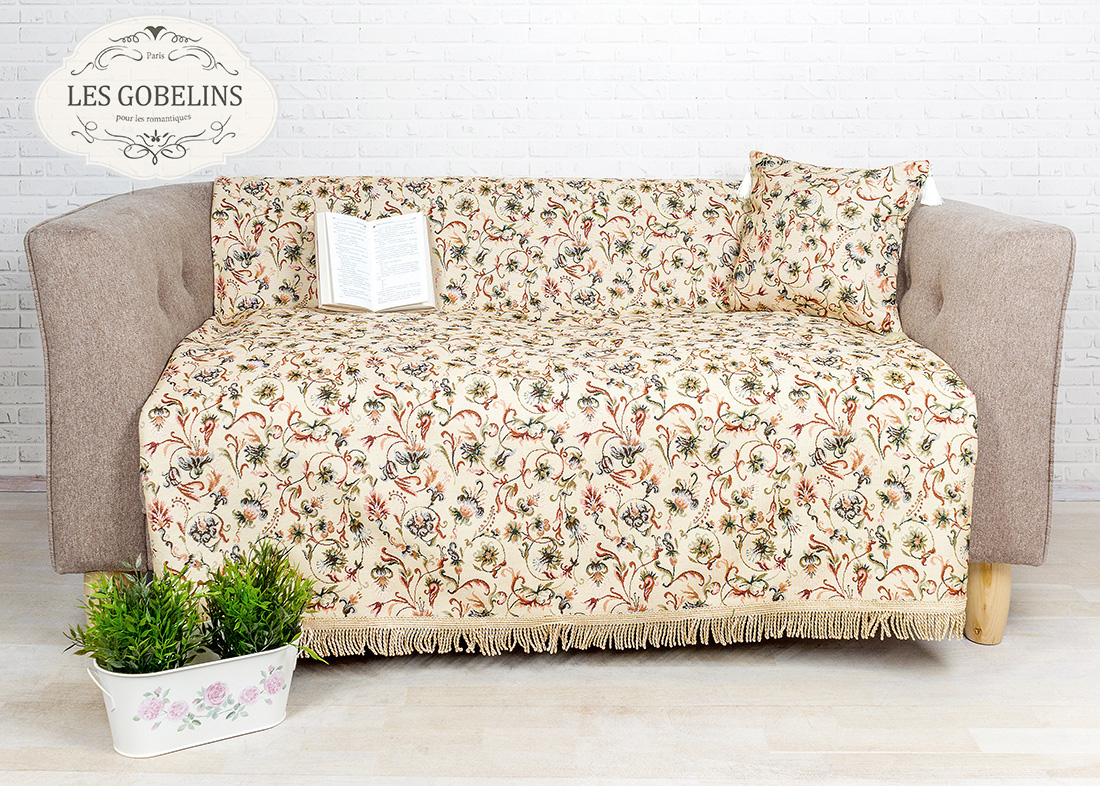 Покрывало Les Gobelins Накидка на диван Fleurs anglais (150х170 см)