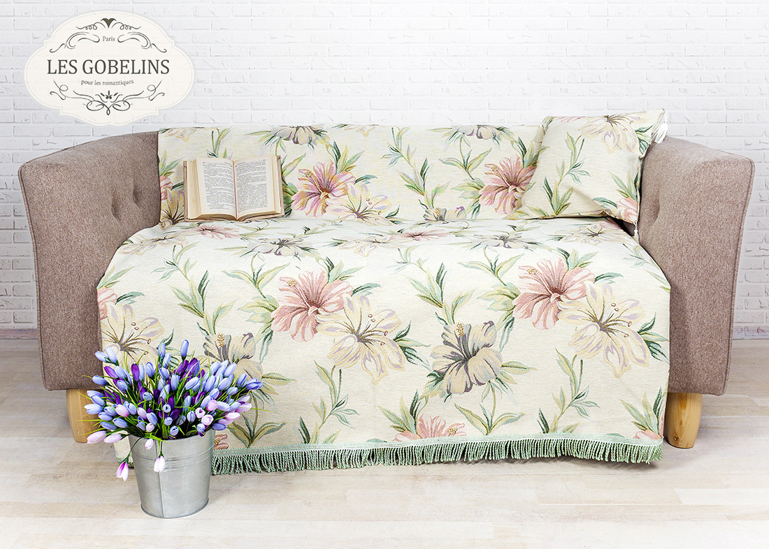 где купить Покрывало Les Gobelins Накидка на диван Perle lily (140х160 см) по лучшей цене