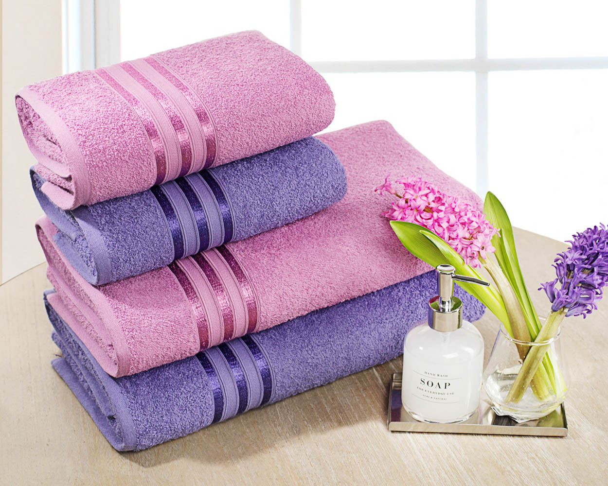 Полотенца Dome Набор из 4 полотенец Harmonika Цвет: Лиловый/Сиреневый полотенца кухонные la pastel набор полотенец 4 предмета из микрофибры 30х30