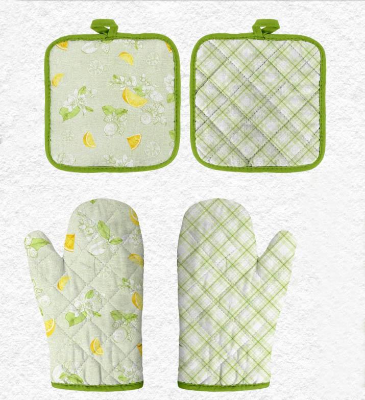 {} Романтика Кухонный набор прихватка + рукавичка Лимонный Сад комплект для кухни фартук прихватка рукавичка