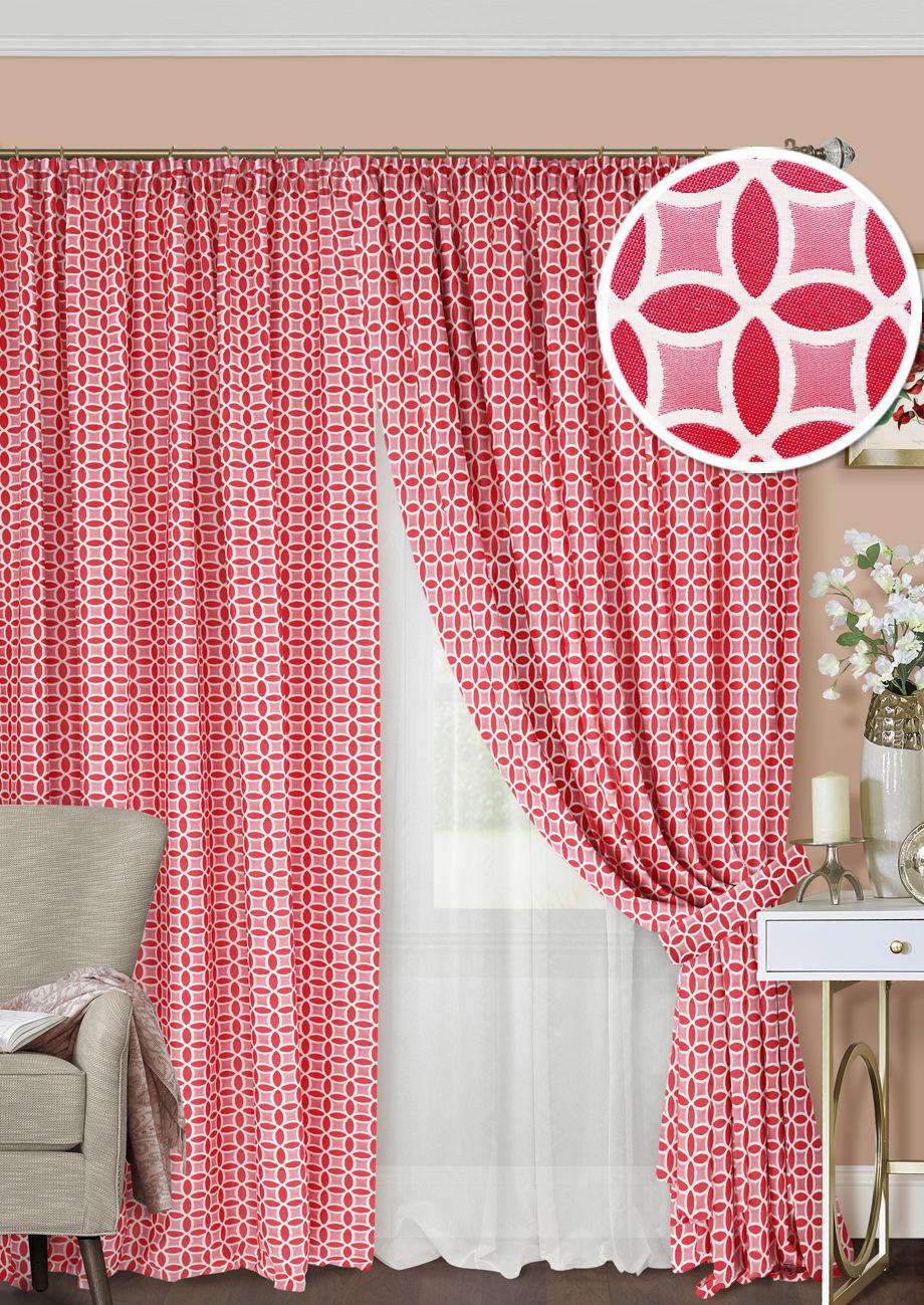 Шторы Kauffort Классические шторы Lubawa Цвет: Красный шторы tac классические шторы winx цвет персиковый 200x265 см
