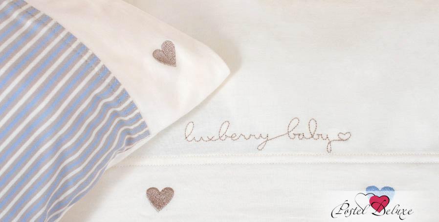 Детское Постельное белье Luxberry Постельное белье Сердечки Цвет: Голубой-Экрю (100х140 см) ермолино детское байковое 100х140 см
