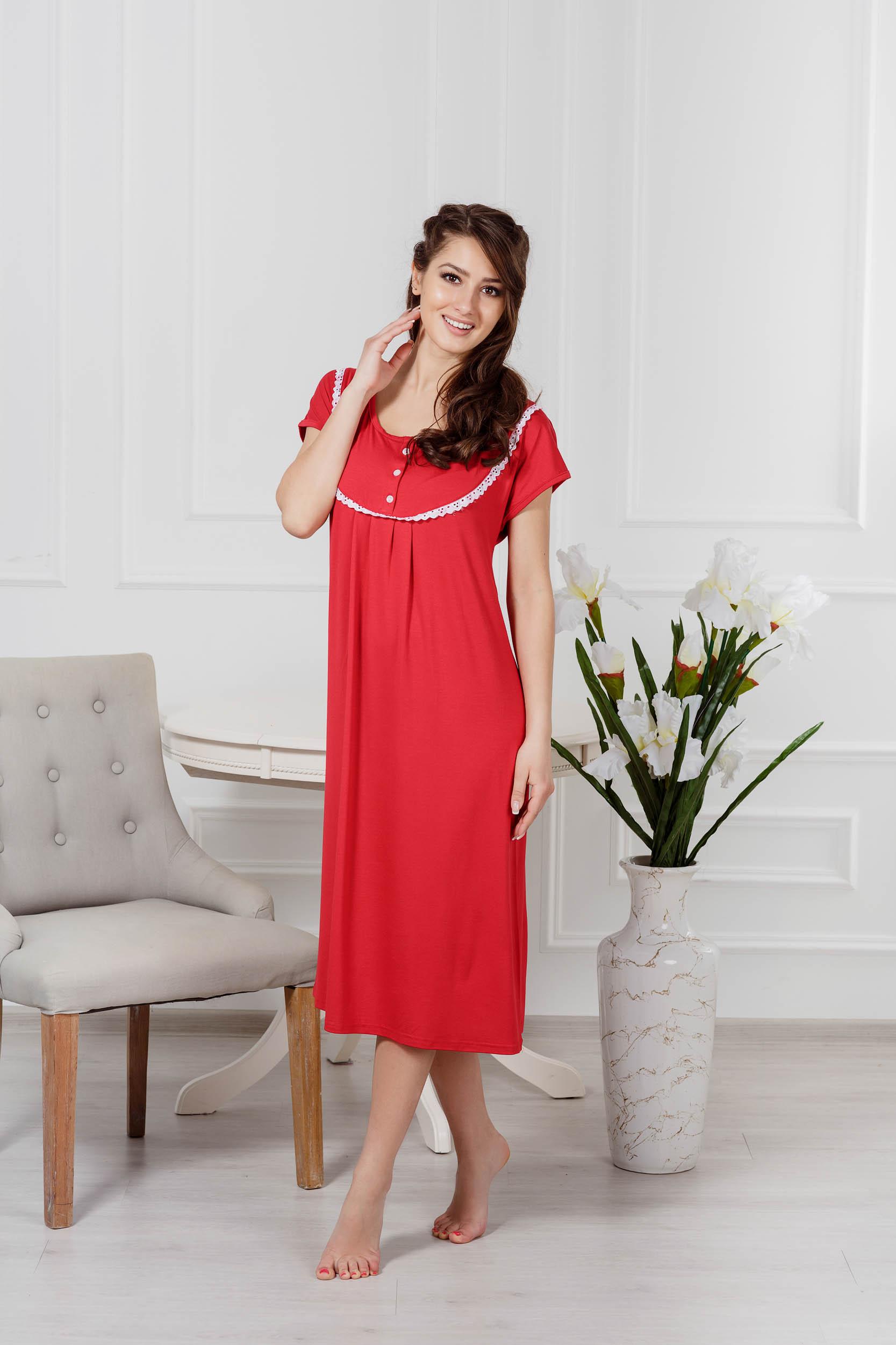 Ночные сорочки Pastilla Ночная сорочка Малена Цвет: Бордо (xxL-xxxL) ночная сорочка и стринги soft line carmen красные xxxl