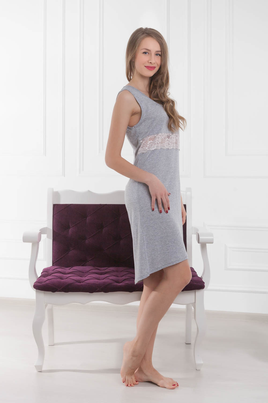 Ночные сорочки Pastilla Ночная сорочка Ласса Цвет: Серый Меланж (L) сорочка ночная для беременных и кормящих мамин дом мамин дом цвет голубой 24130 размер 48