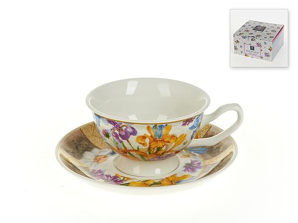 {} Nouvelle Чайная пара Ирис (180 мл) чайная пара с крышкой кобальтовая сетка форма подарочная 2 ифз