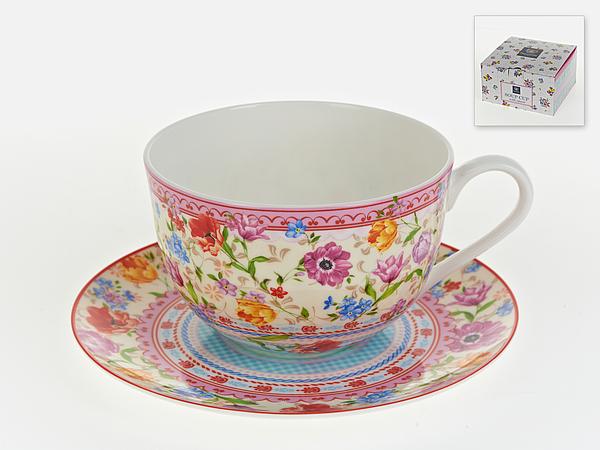 {} Nouvelle Бульонница с блюдцем Разноцветные Тюльпаны (600 мл)