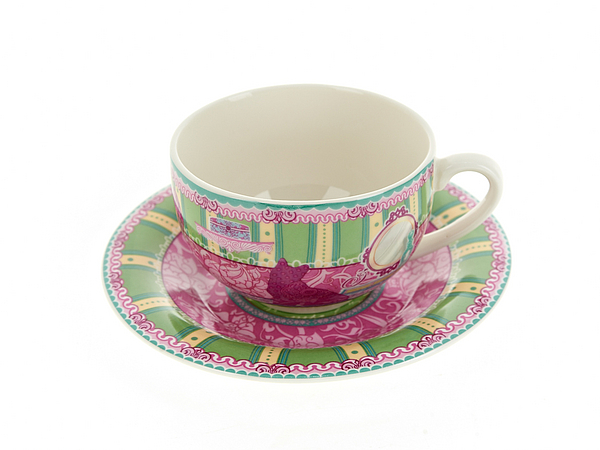 {} Nouvelle Чайная пара Кошки (230 мл) чайная пара с крышкой кобальтовая сетка форма подарочная 2 ифз