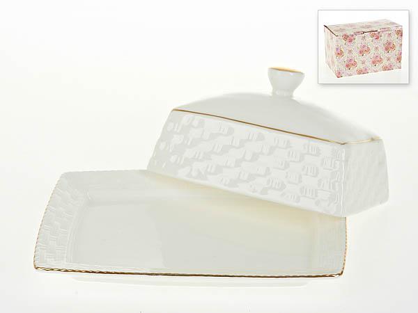 {} Best Home Porcelain Масленка Белый Кварц (7х12х17 см) масленка белый кварц 17 12 7 5см рельеф золотая обводка костяной фарфор подарочная упаковка