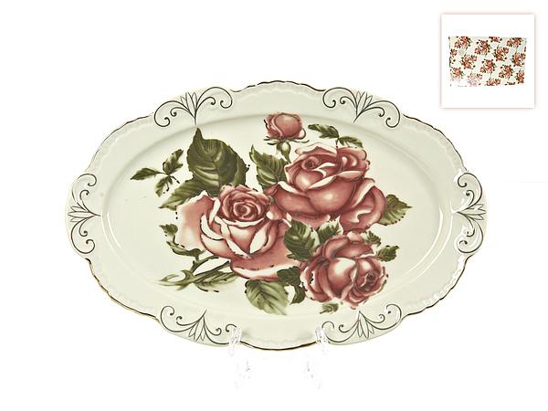 {} Best Home Porcelain Блюдо Рубиновые Розы (3х17х27 см) best home porcelain салфетница рубиновые розы 4х8х13 см