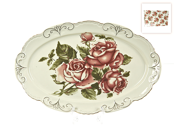 {} Best Home Porcelain Блюдо Рубиновые Розы (4х21х32 см) best home porcelain салфетница рубиновые розы 4х8х13 см