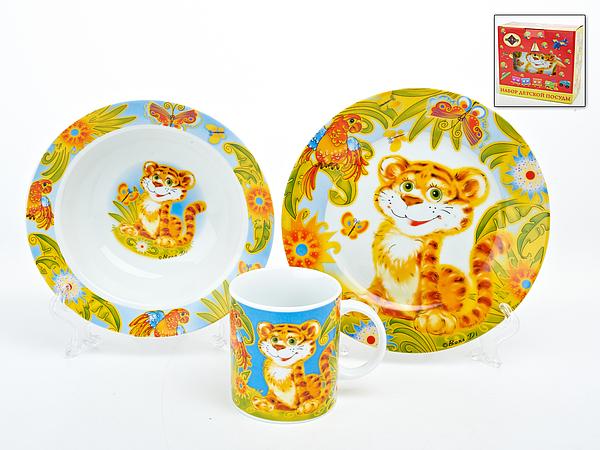 {} Polystar Детский набор посуды Тигренок (Набор) кружка радуга 305мл фарфор