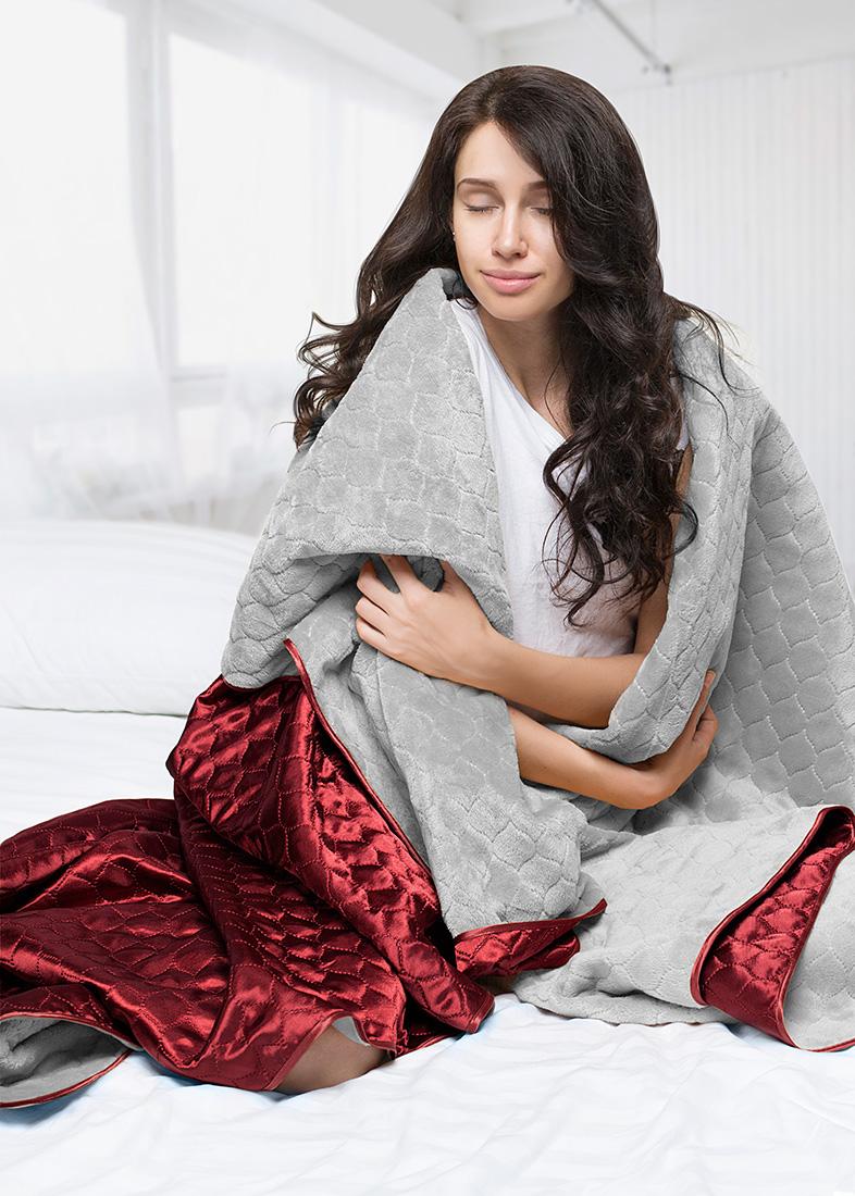 Покрывало Sleep iX Покрывало Shine'n Soft Цвет: Серый-Бордовый (180х220 см)