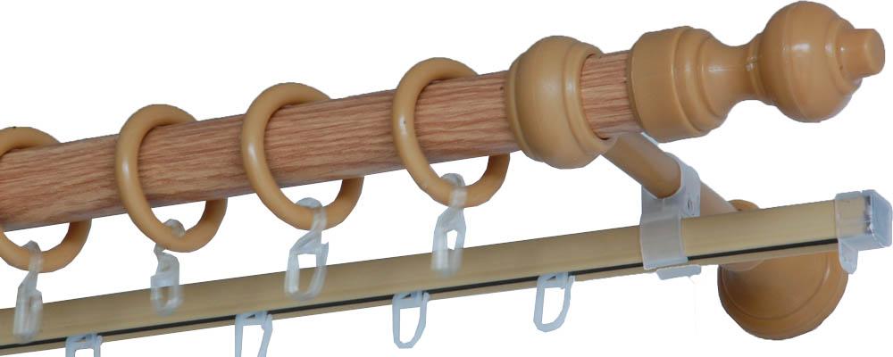 Карнизы и аксессуары для штор Деревей Карниз Helga Цвет: Дуб (240 см) в г тула пластиковые трубы оптом цена труба 110 мм
