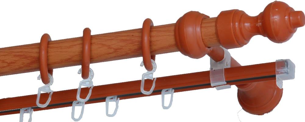Карнизы и аксессуары для штор Деревей Карниз Helga Цвет: Вишня (240 см) в г тула пластиковые трубы оптом цена труба 110 мм