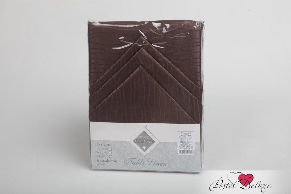 где купить Скатерти и салфетки Mona Liza Скатерть Волна Цвет: Шоколад (Набор) по лучшей цене