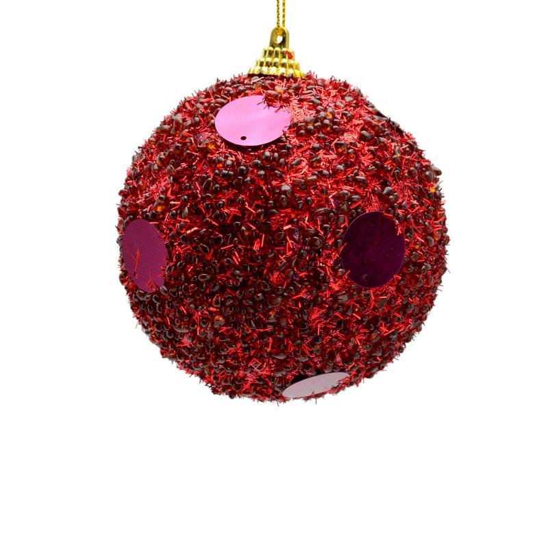 {}  Шар Бисерный Цвет: Пурпурный (10 см) украшение для интерьера сверкающий шар
