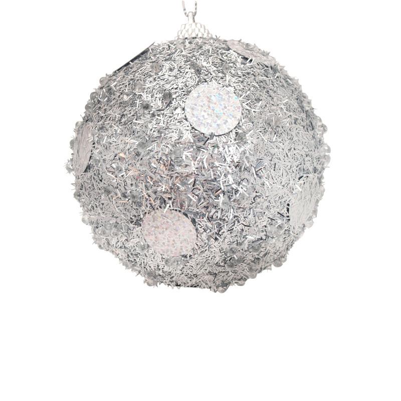 {}  Шар Бисерный Цвет: Серебряный (10 см) украшение для интерьера сверкающий шар