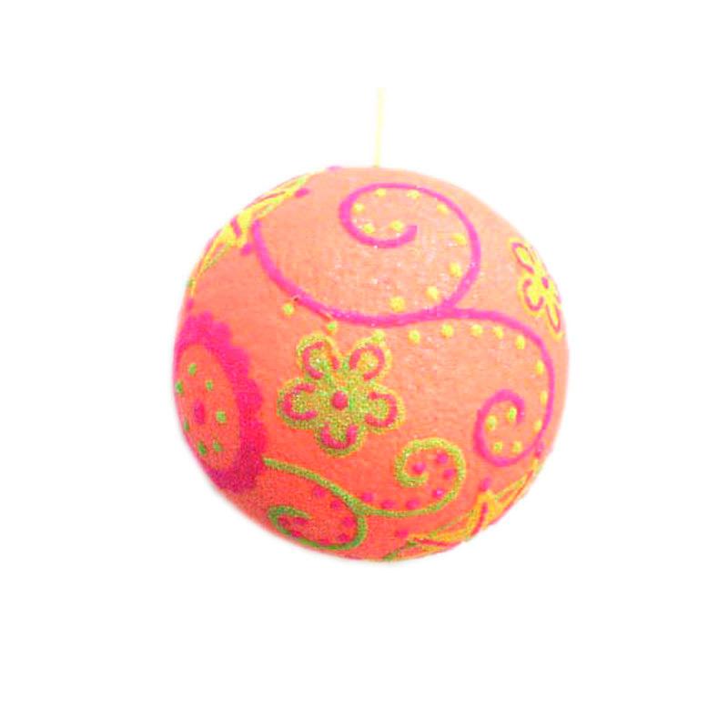 {}  Шар Ретро Цвет: Оранжевый (13 см) украшение для интерьера сверкающий шар
