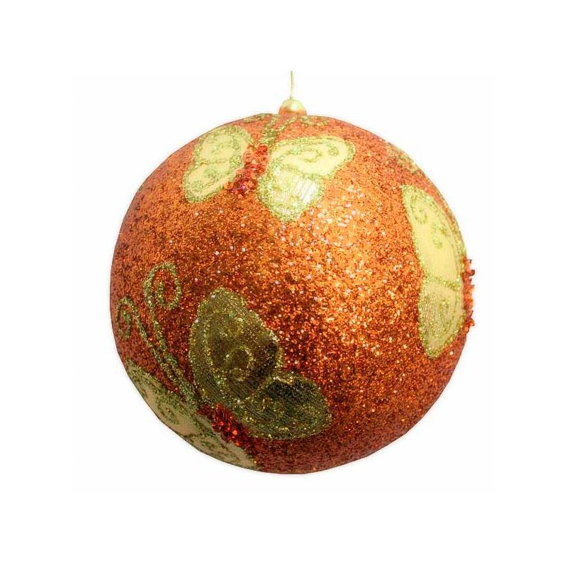 {}  Шар Бабочка Цвет: Золотой (13 см) украшение для интерьера сверкающий шар