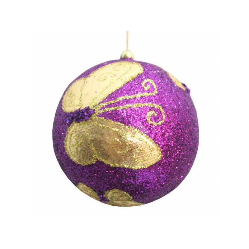 {}  Шар Бабочка Цвет: Фиолетовый (13 см) украшение для интерьера сверкающий шар