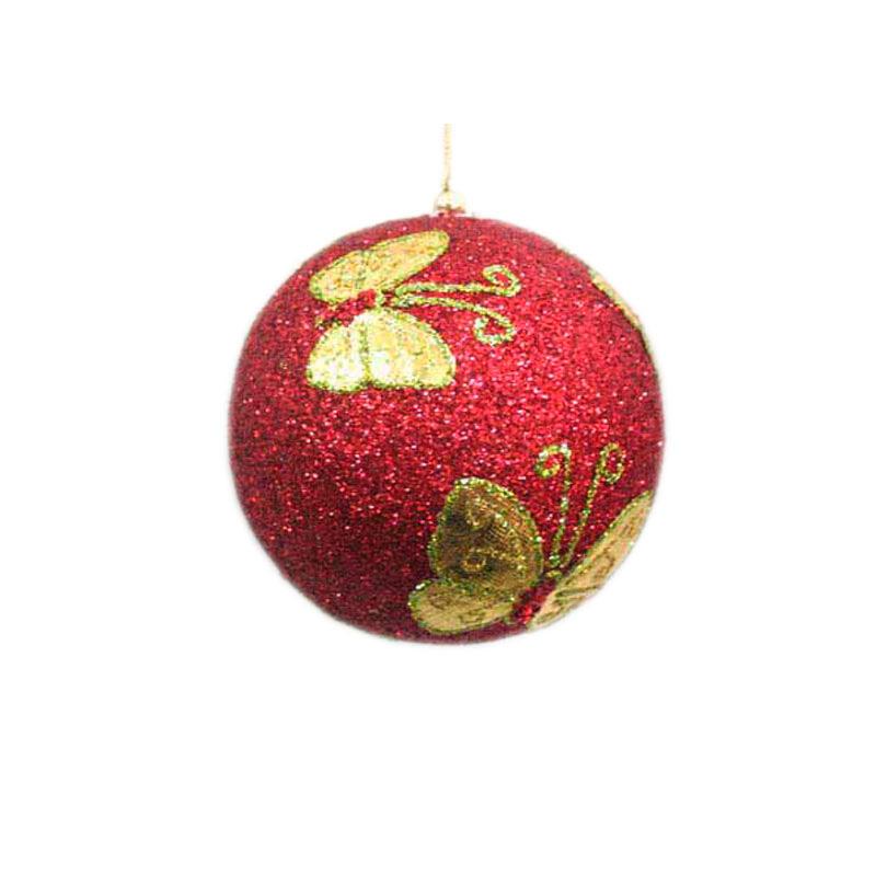 {}  Шар Бабочка Цвет: Красный (13 см) украшение для интерьера сверкающий шар