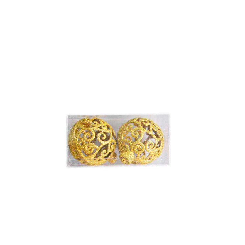 {}  Набор шаров Узоры (8 см - 2 шт) набор шаров 60мм 9шт пластик в тубе золото