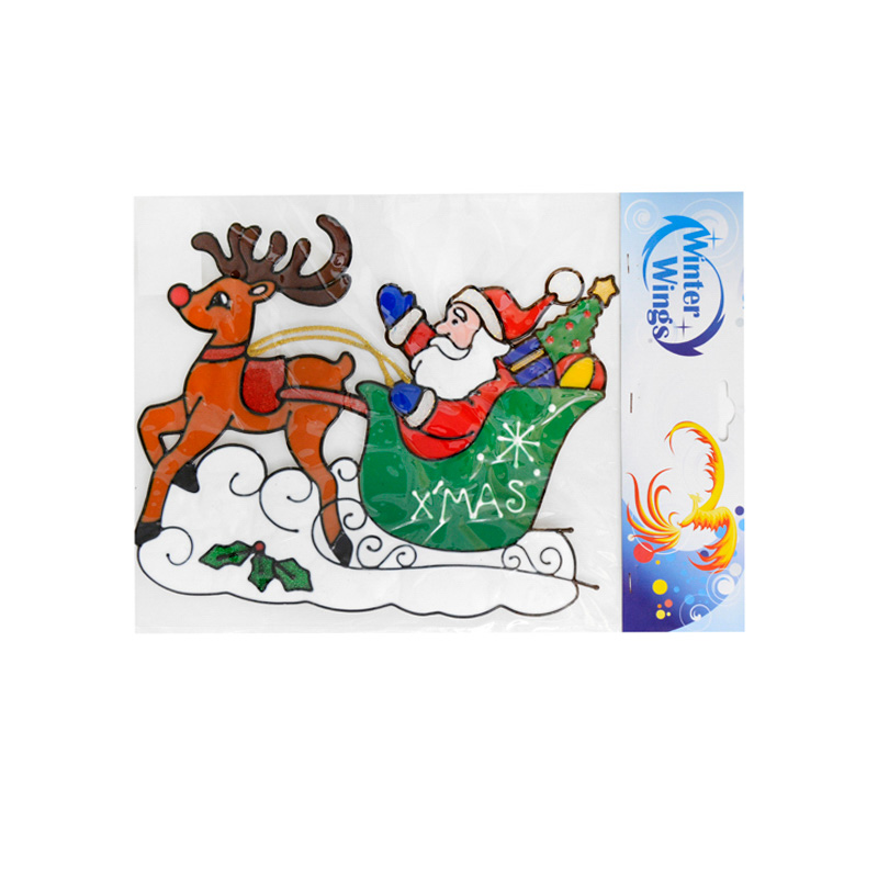 {}  Наклейка-панно Санта с Оленями (27х31 см)