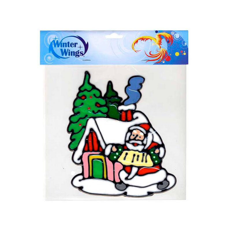 {} Наклейка-панно Дед Мороз у Домика (20х20 см) наклейка панно петух 20х20 см