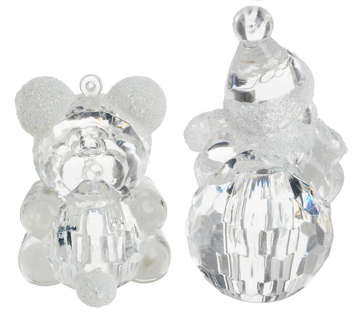 {}  Подвеска декоративная Мишка и Снеговик (7 см - 2 шт) декоративная фигурка мишка именинник высота 13 см 29373