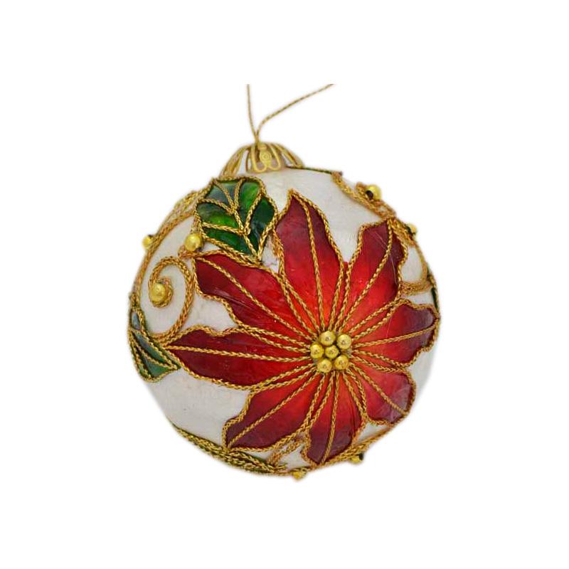 купить {}  Шар Рождественская Звезда Цвет: Перламутровый (7 см) недорого