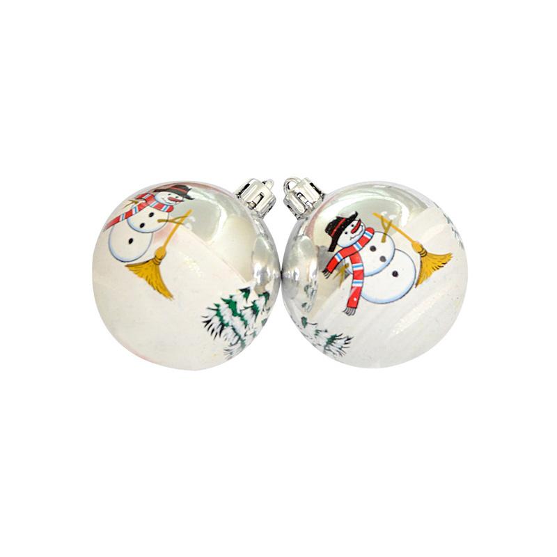 {}  Набор шаров Снеговик Цвет: Блестящий (6 см - 3 шт) набор шаров 60мм 9шт пластик в тубе золото