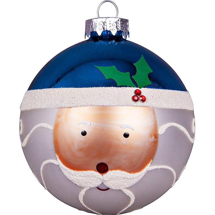 {}  Набор шаров Дед Мороз Цвет: Белый,Синий (7 см - 3 шт) snowlife набор из 6 шаров елочных дед мороз диам 75 мм