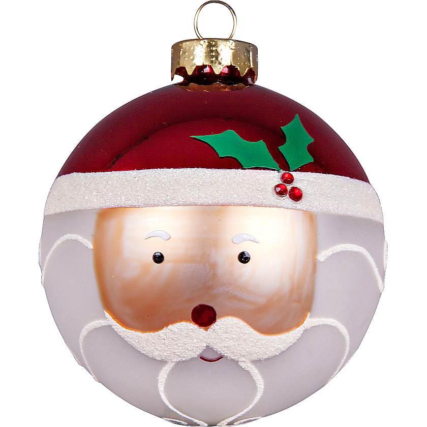 {}  Набор шаров Дед Мороз Цвет:  Белый, Красный (7 см - 3 шт) snowlife набор из 6 шаров елочных дед мороз диам 75 мм