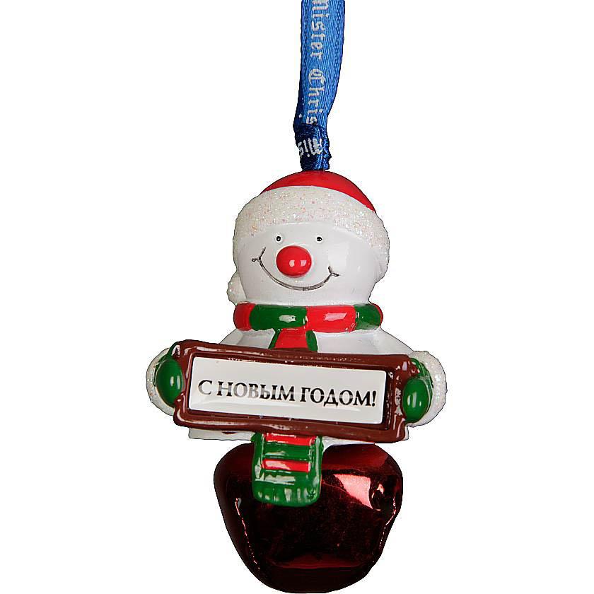 {} Колокольчик Снеговик Цвет: Красный (6 см) миниатюра колокольчик цвет серебристый 6 см