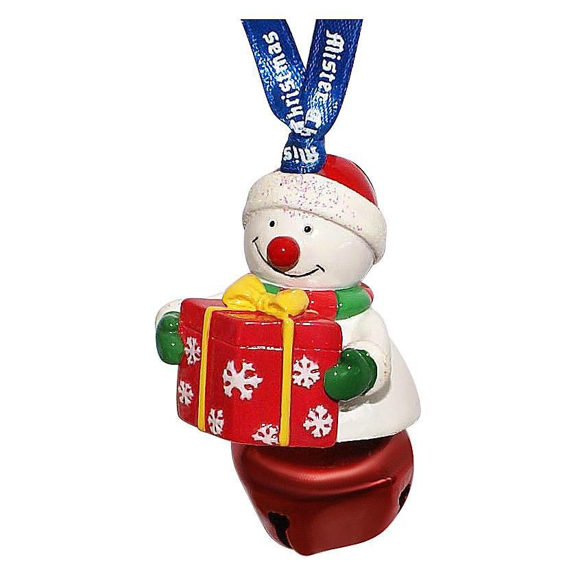 {} Колокольчик Снеговик С Подарком Цвет: Красный (6 см) миниатюра колокольчик цвет серебристый 6 см