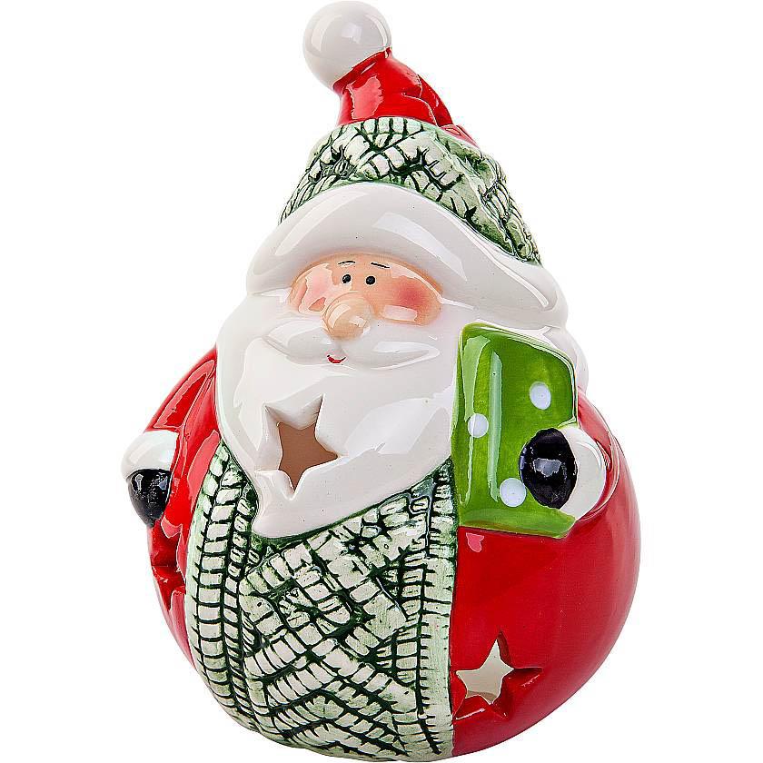 {}  Подсвечник Дед Мороз Цвет: Красный,Зеленый (13 см) подсвечник лось пингвин и мишка 13 см