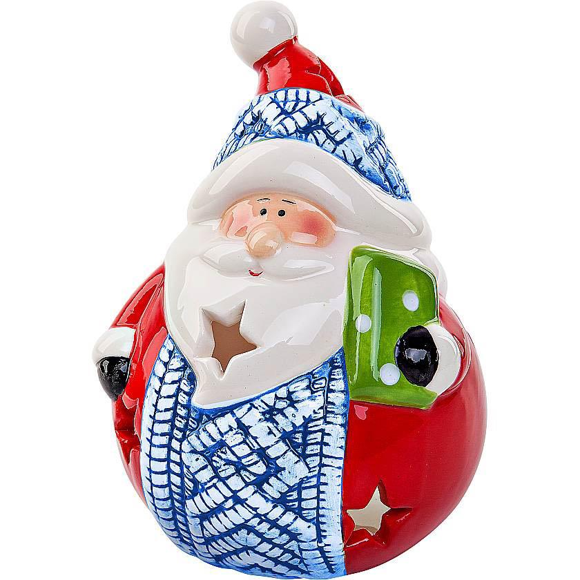 {}  Подсвечник Дед Мороз Цвет: Красный,Синий (13 см) подсвечник лось пингвин и мишка 13 см