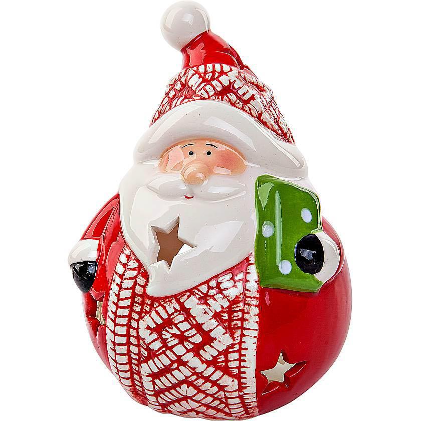 {}  Подсвечник Дед Мороз Цвет: Красный (13 см) подсвечник лось пингвин и мишка 13 см