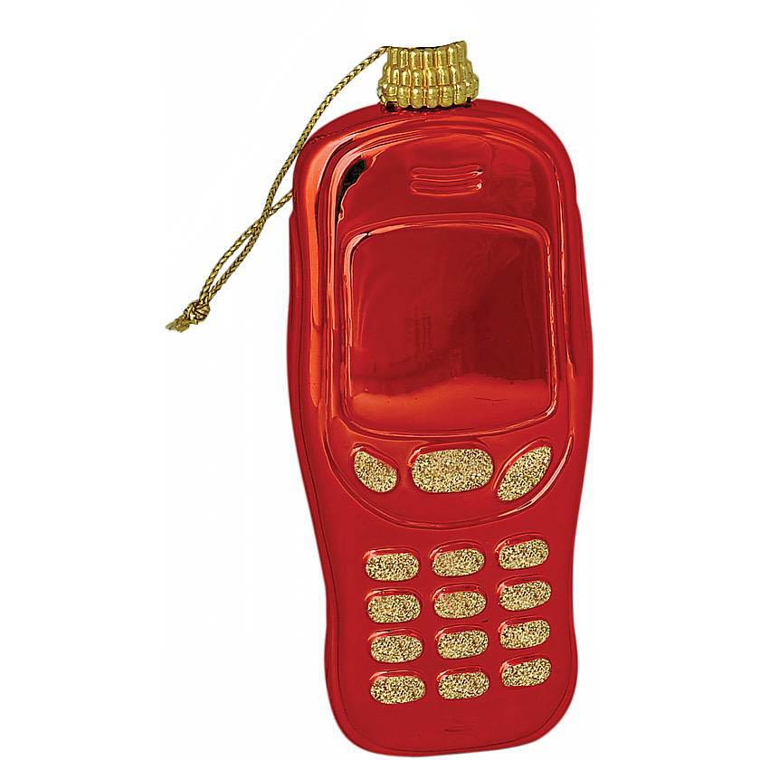 {}  Елочное украшение Телефон Цвет: Красный (8 см)
