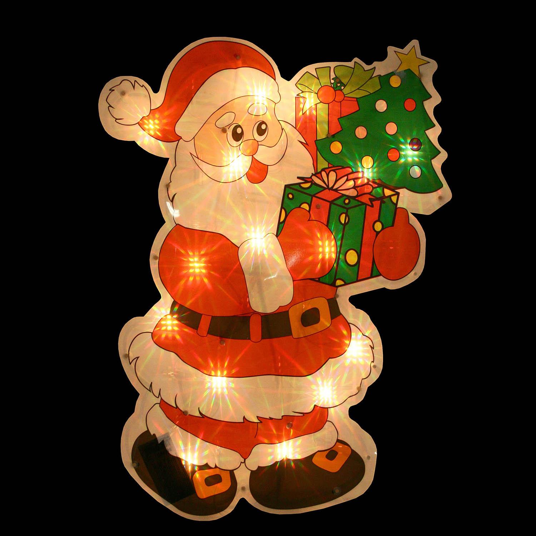 {}  Световая фигура Дед Мороз С Елкой (35х46 см) световая фигура снеговички 37х45 см