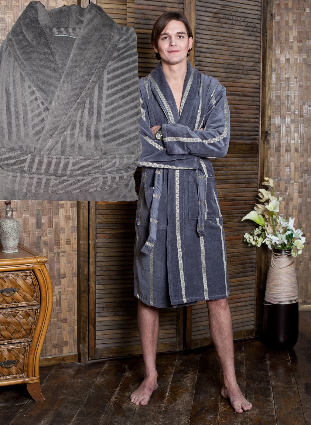 Сауны, бани и оборудование SL Халат ReganЦвет: Серый (xxL) купить шелковый халат мужской спб