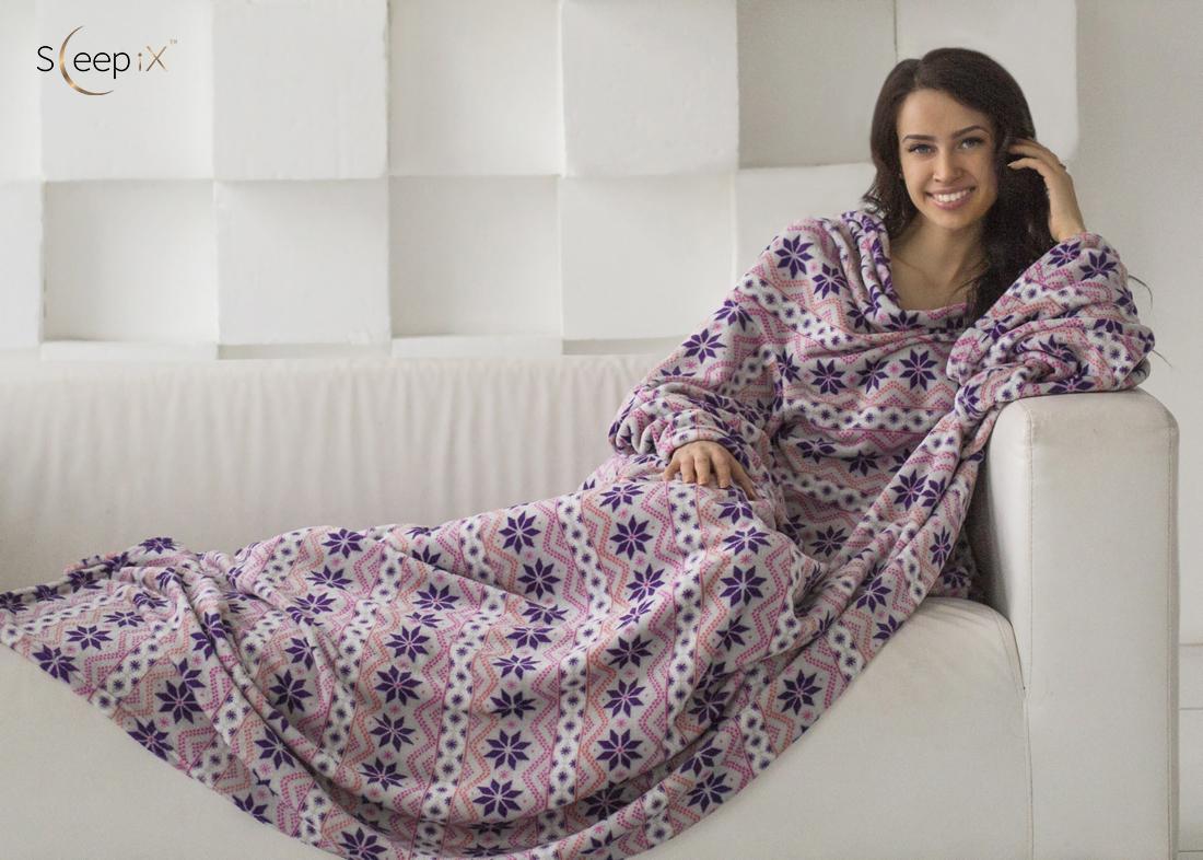 Плед Sleep iX Плед с рукавами Plushy Snowy Цвет: Розово-Фиолетовый (150х200 см)