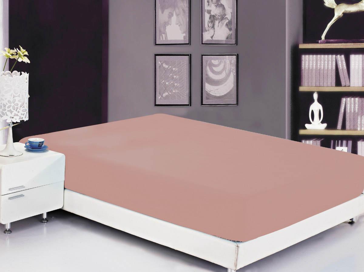 Простыни Valtery Простыня на резинке Ellery Цвет: Грязно-Розовый (90х200)
