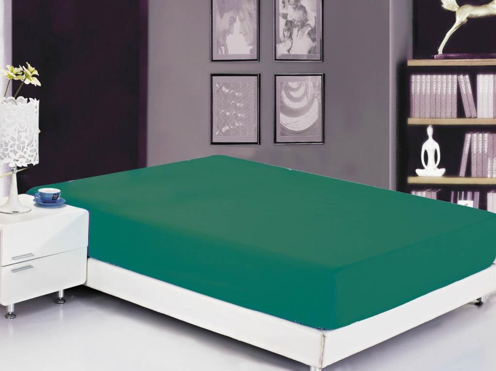 Простыни Valtery Простыня на резинке Ellery Цвет: Темно-Зеленый (90х200)