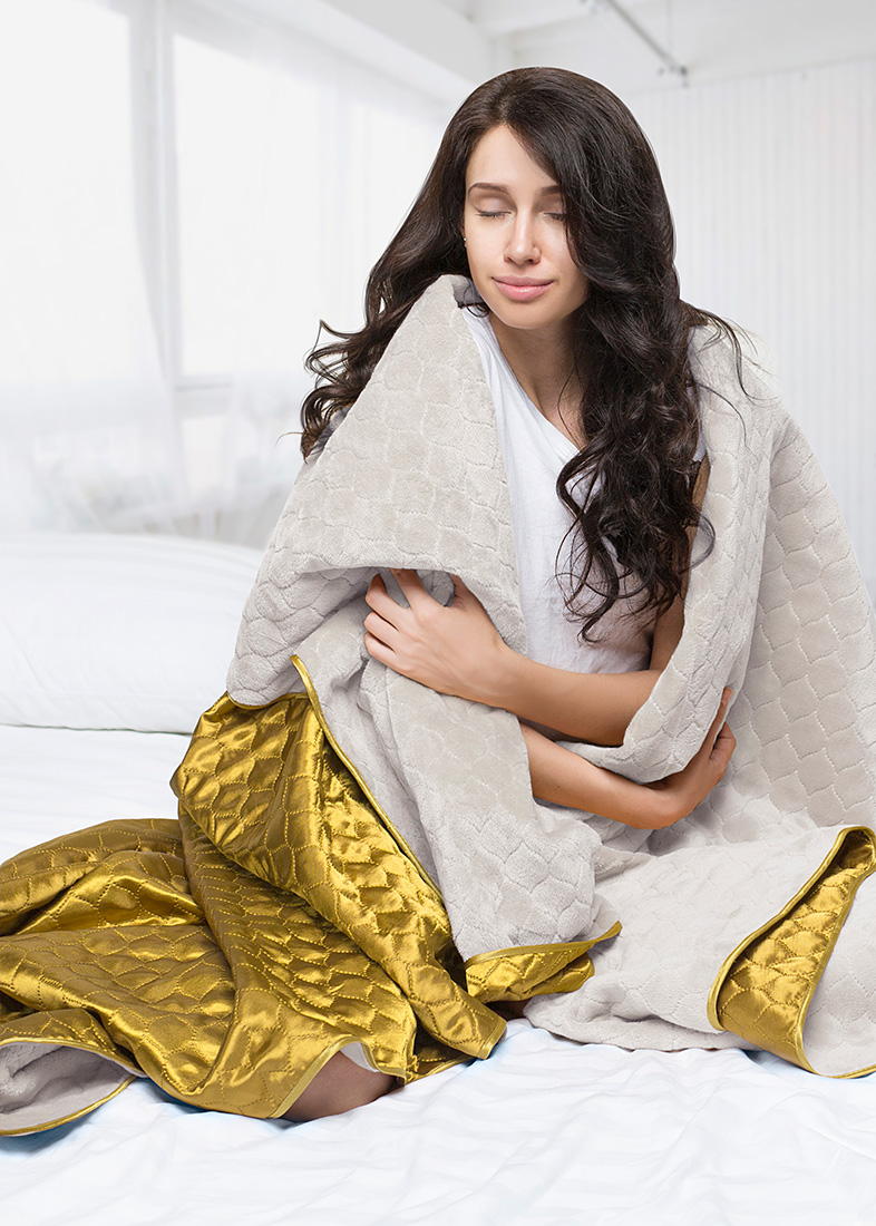 Покрывало Sleep iX Покрывало Shine'n Soft Цвет: Молочно-Серый/Золотой (180х220 см)