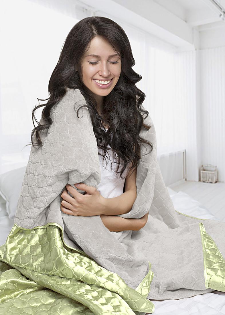 Покрывало Sleep iX Покрывало Shine'n Soft Цвет: Молочно-Серый/Салатовый (200х220 см)