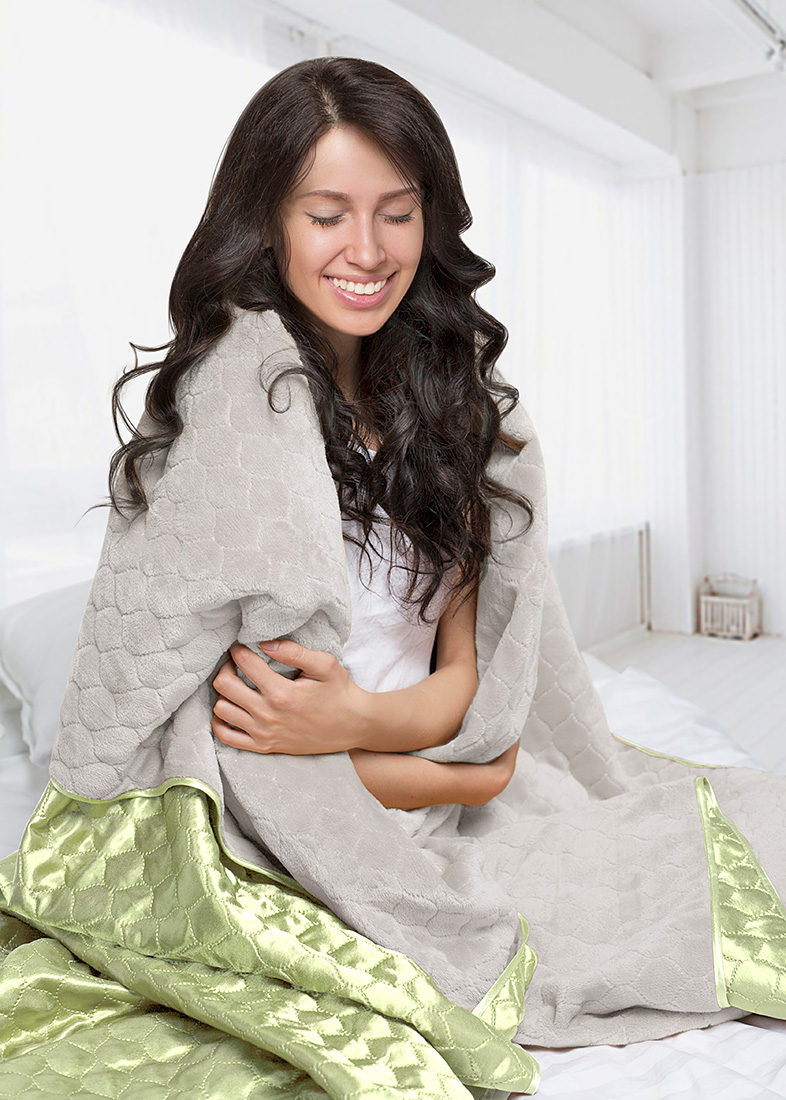 Покрывало Sleep iX Покрывало Shine'n Soft Цвет: Молочно-Серый/Салатовый (180х220 см)