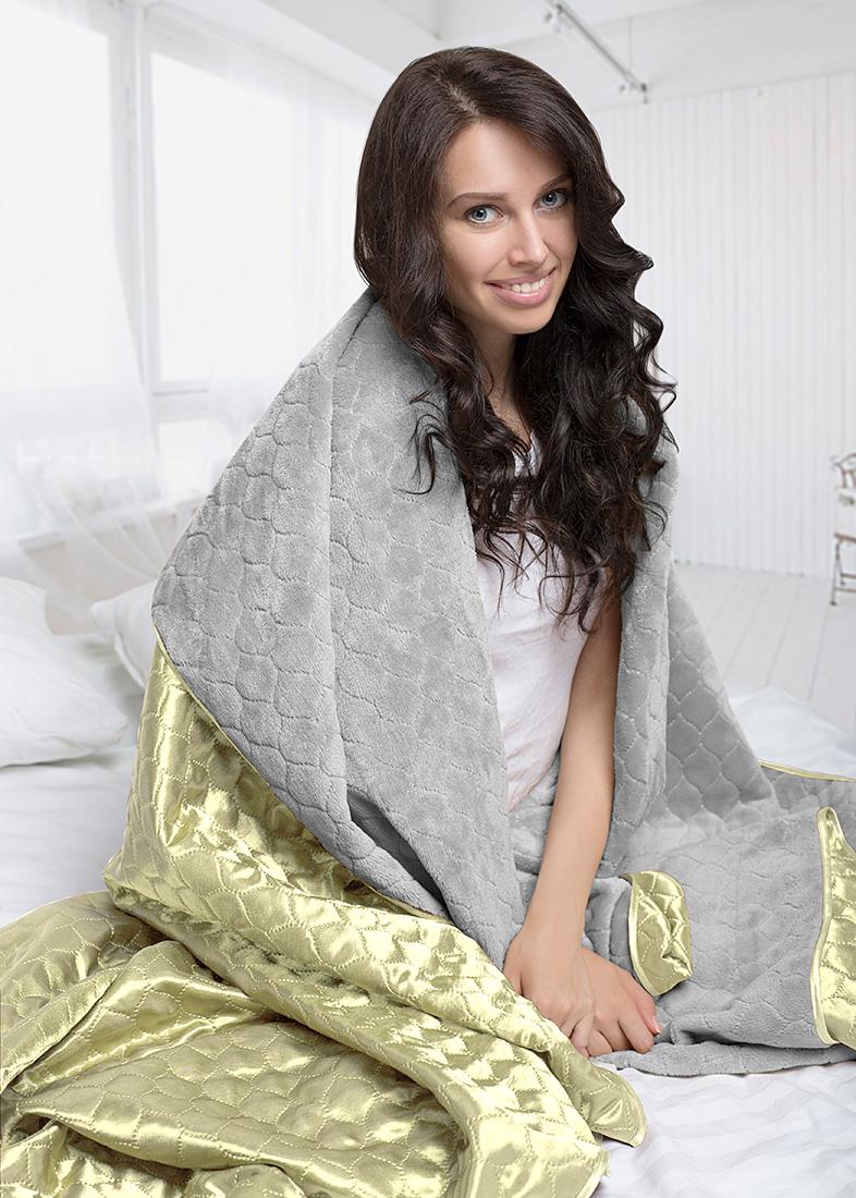 Покрывало Sleep iX Покрывало Shine'n Soft Цвет: Серый/Светло-Салатовый (200х220 см)