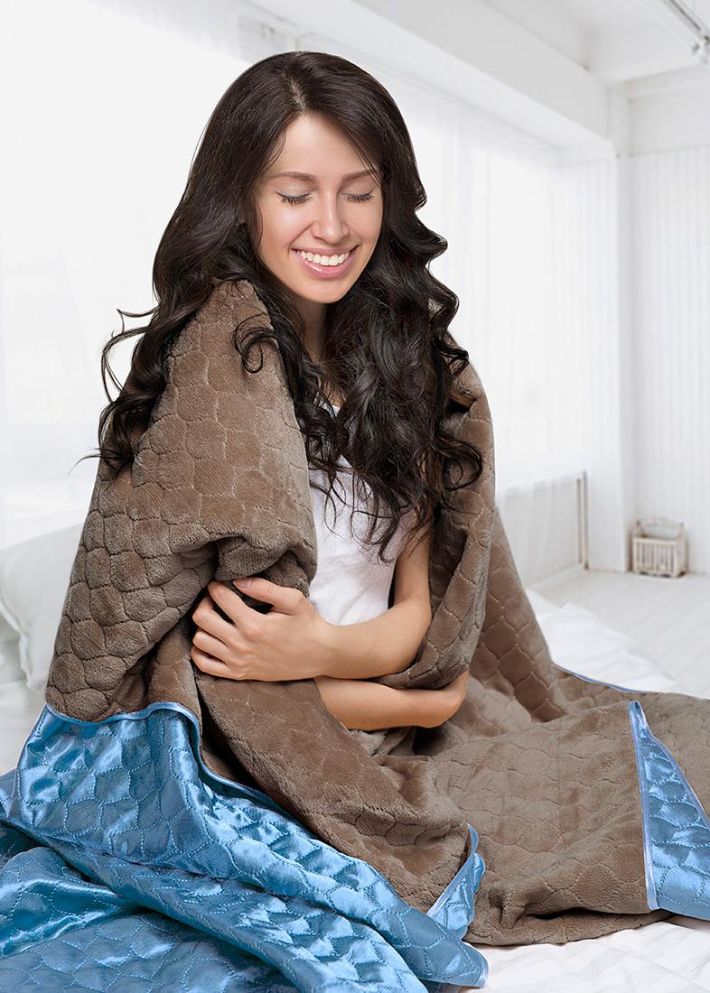 Покрывало Sleep iX Покрывало Shine'n Soft Цвет: Мышиный/Голубой (220х240 см)
