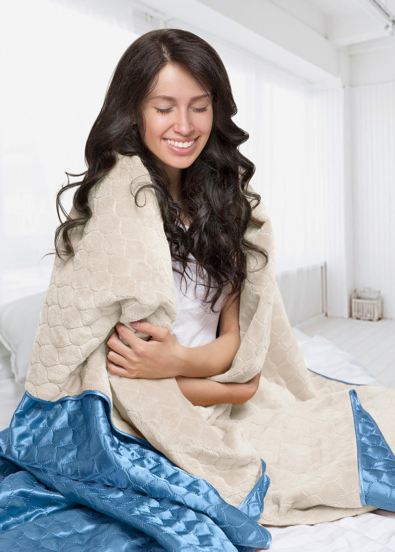 Покрывало Sleep iX Покрывало Shine'n Soft Цвет: Молочно-Розовый/Голубой (220х240 см)